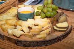Käsescheiben und -stücke auf Platte Lizenzfreies Stockfoto