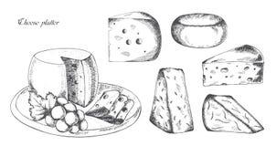 Käseservierplatte, Vektorillustration Stockfotografie