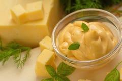 Käsesoße im Glas Lizenzfreie Stockfotografie