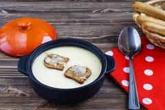Käsesuppe mit Croutons im Topf Lizenzfreie Stockbilder