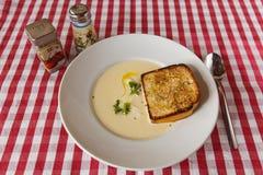 Käsesuppe mit Croutons und Kräutern auf dem Tisch Lizenzfreie Stockbilder