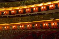 Kästen von Teatro Liceu, Barcelona, Stockfotos