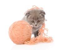 Kätzchen, das mit einer Kugel spielt Getrennt auf weißem Hintergrund Stockfotografie