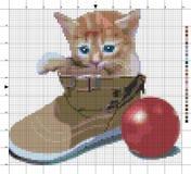 Kätzchen im Schuh Kreuzstichentwurf Lizenzfreie Abbildung