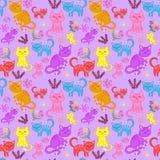 Kätzchen, Katzen stellten ein, das nahtlose Muster stock abbildung