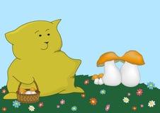 Kätzchen-Kissen der Pilzpicker Stockfoto