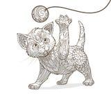 Kätzchen mit abstraktem Verzierungsvektor vektor abbildung