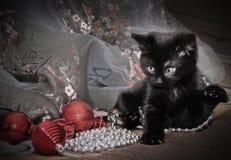 Kätzchen mit Weihnachtsbällen und -flitter Lizenzfreies Stockfoto