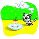 Kätzchen und Nahrung Lizenzfreie Abbildung