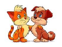 Kätzchen und Welpe lizenzfreie abbildung