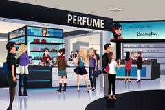 Käufer, die für Kosmetik in einem Kaufhaus kaufen lizenzfreie abbildung