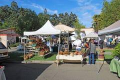 Käufer und Verkäufer am Landwirtmarkt in Calistoga, Californi Lizenzfreie Stockbilder