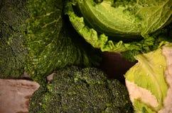 Kål blomkål, broccoli, Arkivbild