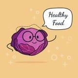 Kål med anförandebubblan Ballongklistermärke Kall grönsak också vektor för coreldrawillustration Klyftigt nerdtecken för kål Conc stock illustrationer