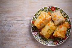 Kål rullar med kött, ris och grönsaker Sidor för välfylld kål med kött Chou farci, dolma, sarma royaltyfri fotografi