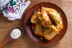 Kål rullar med kött, ris och grönsaker Sidor för välfylld kål med kött Chou farci, dolma, sarma, golubtsy eller golabki arkivbild