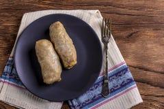 Kål rullar med nötkött, ris och grönsaker Sidor för välfylld kål med kött Dolma, sarma, sarmale, golubtsy eller golabki royaltyfria foton