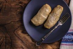 Kål rullar med nötkött, ris och grönsaker Sidor för välfylld kål med kött Dolma, sarma, sarmale, golubtsy eller golabki royaltyfri bild