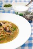 Kålsoppa shchi med den franska plommonet och bacon Arkivbilder