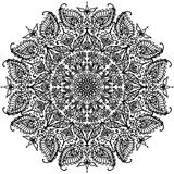Kółkowy mandala z kwiecistymi ornamentami barwi konturową ilustrację Zdjęcia Royalty Free