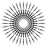 Kółkowy motywu element Promieniowe kropkowane linie z nieregularnym profi ilustracja wektor