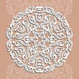 Kółkowy ornament, laserowy rozcięcie Dekoracyjny tło dla gr ilustracja wektor