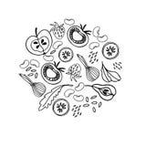 Kółkowy ornament z owoc, warzywa, fasole, zielenieje Czarny i bia?y ilustracja dla kolorystyki ksi??ki royalty ilustracja