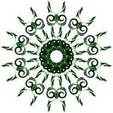 Kółkowy ornamentu czerń z zielonym kolorem na białym tle ilustracji