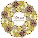 Kółkowy Kwiecisty wzór, kartka z pozdrowieniami Zdjęcia Royalty Free