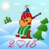 Kózka bawić się gitarę w nowym roku Zdjęcia Stock