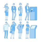Kö atm Folk i linje till att packa ihop betalning för pengar för atm-kassatillbakadragande Kvinnaman med debiteringkreditkorten B stock illustrationer