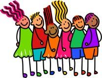 Kö av lyckliga ungar vektor illustrationer