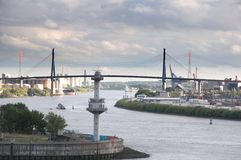 Köhlbrand Bridge in the port of Hamburg Stock Photography