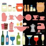 Kök bearbetar symbolsuppsättningen stock illustrationer