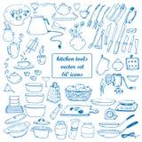 Kök bearbetar vektorklotter Stock Illustrationer