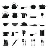 Kök besegrar symbolsuppsättningen i enkel stil Arkivbilder