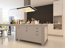Kök för modern design | Inre arkitektur Royaltyfria Bilder