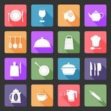kök för 20 set utensil för färgrikt glansigt symboler Arkivfoton