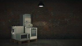 kök för symboler för anordningdesignutgångspunkten ställde in ditt Uppsättning av hushållköktekniker som isoleras på vit Kyl, gas Fotografering för Bildbyråer