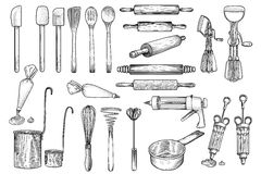 Kök hjälpmedlet, redskapet, vektorn, teckningen, gravyr, illustration, viftar, kavlen som dekorerar Vektor Illustrationer