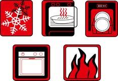 Kök- och matlagningknappuppsättning Arkivbilder