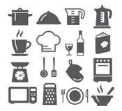 Kök- och matlagningsymboler stock illustrationer