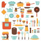 Kök- och restaurangsymbolsuppsättning av redskap vektor illustrationer