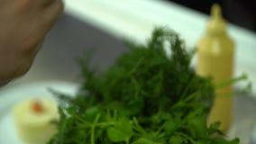 Kök Restaurang matlagning Kocken dekorerar de mosade tomaterna och örterna för potatisar körsbärsröda arkivfilmer