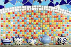 Kök som är keramiskt med den färgrika mosaiken Fotografering för Bildbyråer
