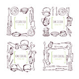 Kökbeståndsdelramar och ställe för din text matvektorbakgrund royaltyfri illustrationer