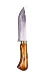 Kökhandkniv med ett handtag som göras av naturligt trä, mässing och stål handgjort Isolerat på vit royaltyfri bild