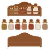 Kökhylla med kryddor av den olika färgvektorn vektor illustrationer