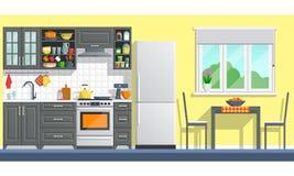 Kökmöblemang med anordningar Arkivfoto