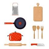 Kökmaterial sätta på land tidskriften för färgflickaillustrationen som läser den sandiga vektorn Royaltyfri Fotografi